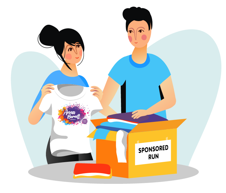 Image of a couple with t-shirts to be worn on a sponsored run