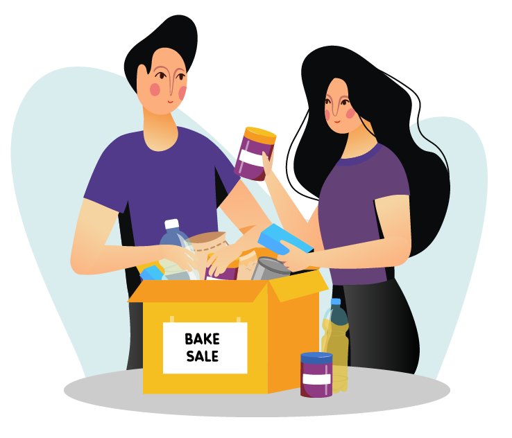 Image of a couple with goods to be sold at a bake sale